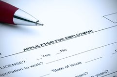 Job application with a blue tint Stock Photos
