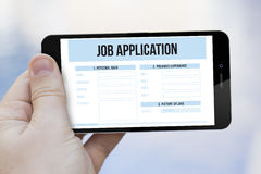 Job application on cell phone Royalty Free Stock Images