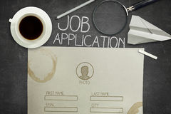 Job application concept on black blackboard with Royalty Free Stock Photography