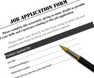 Job application form. Completing job application form with a pen, looking for a new job Stock Images