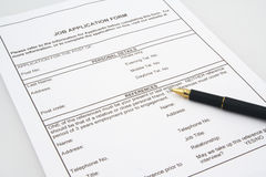 Job Application Form 2 Royalty Free Stock Photos