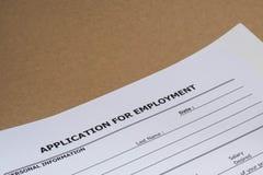 Job Application form Royaltyfri Foto
