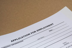 Job application form. Close up blank job application form Royalty Free Stock Photo
