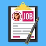 Job Application Form Vector Photo femelle de profil Concept de ressources humaines d'heure Écritures de bureau planchette pen loc Images libres de droits