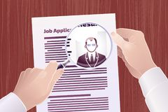 Job Application/Resume Search. Vector illustration on the subject of `Employment/Job Search Stock Image
