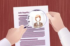 Job Application/Resume Search. Vector illustration on the subject of `Employment/Job Search Royalty Free Stock Photos