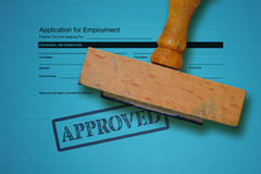 Job application and stamp royalty free stock images