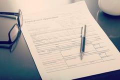 Job Applications-Form lizenzfreie stockfotos