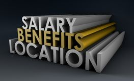 Job Benefits. And Salary Negotiation in Career Stock Images