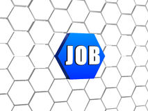 Job on blue hexagon Royalty Free Stock Images