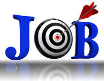 Job blue word and conceptual target Stock Photos