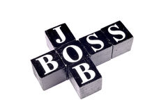 Job boss. Job and boss written on black blocks Stock Photography