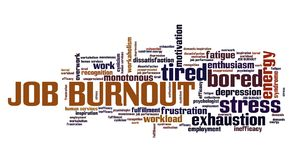 Job burnout. Career exhaustion and depression. Employment word cloud royalty free illustration