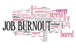 Job burnout. Career frustration and depression. Employment word cloud royalty free illustration