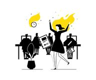 Job burnout - modern flat design style illustration. Black, white and yellow unusual composition with a female office worker on fire, having a deadline. Stress vector illustration