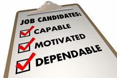 Job Candidates Qualities Requirements Interview-Checkliste stock abbildung