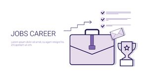 Job Career Personal Development Business Concept Web Banner With Copy Space. Vector Illustration Stock Images