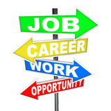Job Career Work Opportunity Words Road Signs. The words Job, Career, Work and Opportunity on colorful road signs with arrows pointing to new opportunities to Stock Image