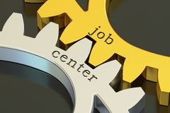 Job center concept on the gearwheels, 3D rendering Royalty Free Stock Photo