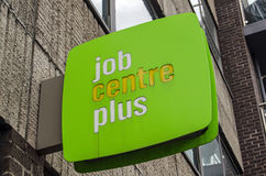 Job Centre sign, London. LONDON, UK - MAY 24, 2014:  Sign outside a government-run Job Centre Plus on Lambeth.  The Job Centre aims to encourage unemployed Stock Photography