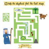 Job for children complete the maze and find lost sheep. Sunday school. Royalty Free Stock Photos