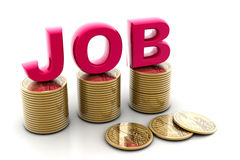 Job and coin. Digital illustration of job and coin in isolated background Stock Photography