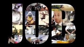 Job collage on black stock video footage