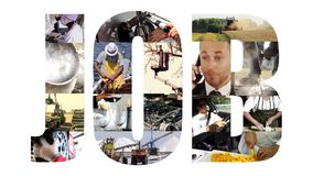 Job collage on white stock video