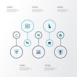 Job Colorful Icons Set Collection de contrat, document avec le stylo, statistiques et d'autres éléments Inclut également des symb Illustration Libre de Droits