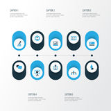 Job Colorful Icons Set Collection de local, Analytics Photographie stock libre de droits