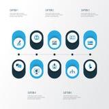 Job Colorful Icons Set Raccolta di area locale, analisi dei dati Fotografia Stock Libera da Diritti