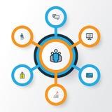 Job Colorful Outline Icons Set Colección de beneficio financiero, de trabajador, de gráfico de sectores y de otros elementos Tamb Imagen de archivo libre de regalías