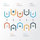 Job Colorful Outline Icons Set Colección de efectivo del banco, de equipo, de trabajador y de otros elementos También incluye sím Imágenes de archivo libres de regalías