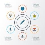 Job Colorful Outline Icons Set Colección de lápiz, de trabajador, de red y de otros elementos También incluye símbolos tal como Imagen de archivo libre de regalías