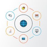 Job Colorful Outline Icons Set Colección de mundo, de efectivo del banco, de gráfico de sectores y de otros elementos También inc Foto de archivo