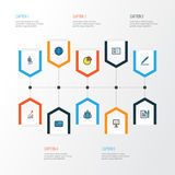 Job Colorful Outline Icons Set. Collection Of Bank Cash, Team, Worker And Other Elements. Also Includes Symbols Such As. Job Colorful Outline Icons Set Royalty Free Stock Images