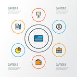 Job Colorful Outline Icons Set. Collection Of Billboard Presentation, Circle Stats, Administrator And Other Elements.  Royalty Free Stock Images