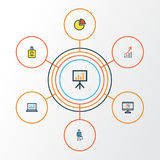 Job Colorful Outline Icons Set Collection d'Analytics d'ordinateur, de graphique de stat de cercle et circulaire et d'autres élém Images stock
