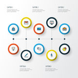 Job Colorful Outline Icons Set Collection d'argent liquide de banque, de présentation de panneau d'affichage, de stat de cercle e Images libres de droits