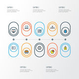 Job Colorful Outline Icons Set Collection d'insigne d'identification, d'administrateur, de réseau et d'autres éléments Inclut éga Photos stock