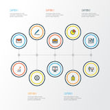 Job Colorful Outline Icons Set Collection de portfolio, d'accord, de crayon et d'autres éléments Inclut également des symboles Photographie stock