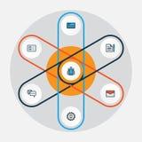Job Colorful Outline Icons Set Raccolta dei contanti della Banca, dell'amministratore, dell'accordo e di altri elementi Inoltre i Fotografia Stock Libera da Diritti
