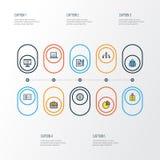 Job Colorful Outline Icons Set Raccolta del distintivo di identificazione, dell'amministratore, della rete e di altri elementi In illustrazione vettoriale