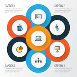Job Colorful Outline Icons Set Raccolta del distintivo di identificazione, dello Stats del cerchio, del lavoratore e di altri ele Fotografie Stock Libere da Diritti