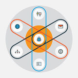 Job Colorful Outline Icons Set Raccolta del gruppo, dell'amministratore, del messaggio e di altri elementi Inoltre comprende i si Fotografie Stock