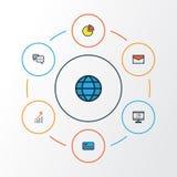 Job Colorful Outline Icons Set Raccolta del mondo, dei contanti della Banca, del diagramma a torta e di altri elementi Inoltre co Fotografia Stock