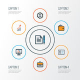 Job Colorful Outline Icons Set Raccolta del profitto finanziario, diagramma a torta, amministratore And Other Elements anche illustrazione di stock