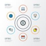 Job Colorful Outline Icons Set Raccolta dell'analisi dei dati del computer, del messaggio, della presentazione del tabellone per  Immagine Stock Libera da Diritti