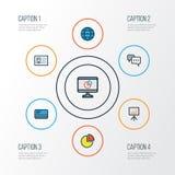 Job Colorful Outline Icons Set Raccolta della conversazione, del distintivo di identificazione, dello Stats del cerchio e di altr Fotografia Stock Libera da Diritti