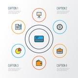Job Colorful Outline Icons Set Raccolta della presentazione del tabellone per le affissioni, Stats del cerchio, amministratore An Immagini Stock Libere da Diritti